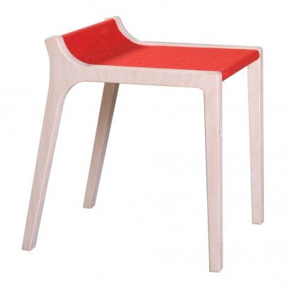Sirch Tabouret Xarre en bois et feutre rouge -listing