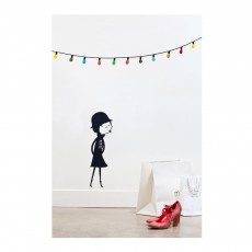 Poisson Bulle Mademoiselle and the multicoloured garland sticker - Blanca Gomez-listing
