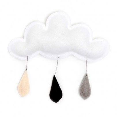 The Butter Flying Cloud mobile rain of color grey/black/cream-listing