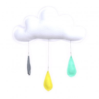 The Butter Flying Mobile Gouttes de pluie gris/jaune/menthe-listing