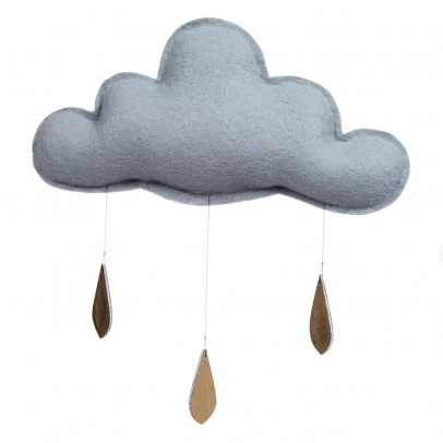 The Butter Flying Móvil Nube con gotas de oro - Gris claro-listing