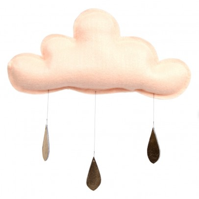 The Butter Flying Peach cloud with Gold Raindrops Mobile-listing