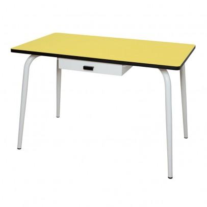 Les Gambettes Table Vera avec tiroir - Jaune-listing