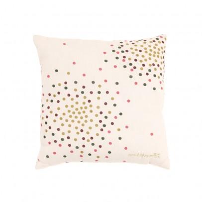 April Showers Vanilla cushion - multicolored dot print -listing
