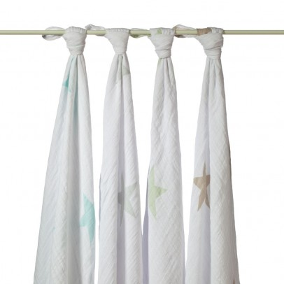 aden + anais  Maxi-swaddle. Stars, pack of 4-listing