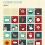 Poisson Bulle Alphabet Retro  Alphabet  poster- Red and blue - Blanca Gomez-medium