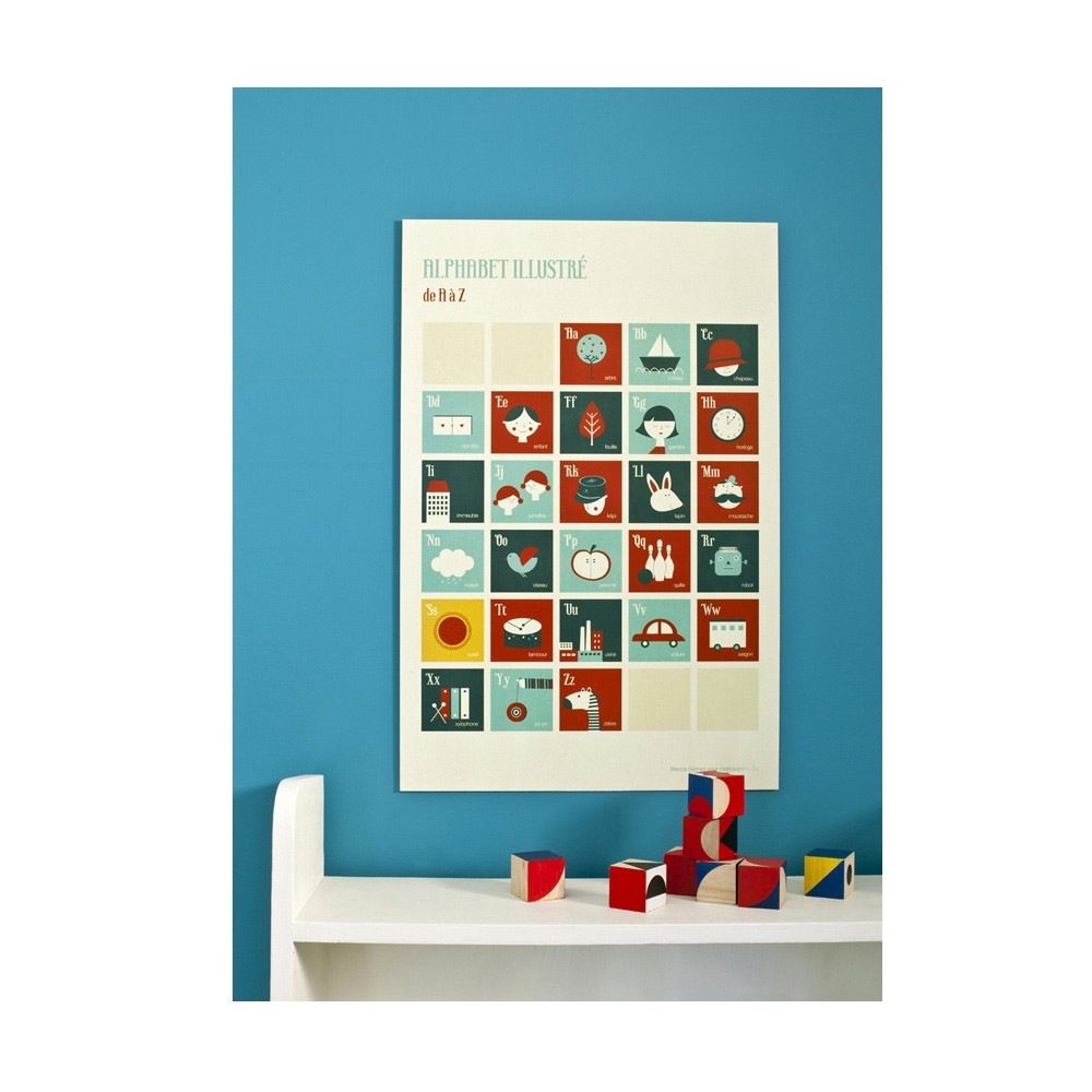 Poisson Bulle Alphabet Retro  Alphabet  poster- Red and blue - Blanca Gomez-product