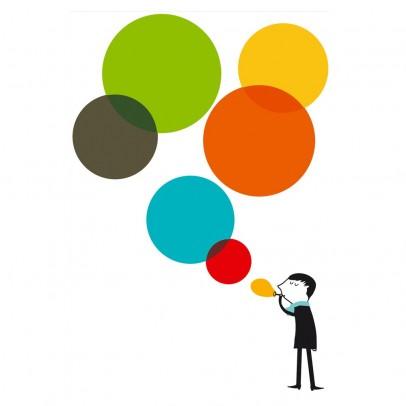Poisson Bulle Monsieur and the bubbles Sticker - multicolour - Blanca Gomez-product