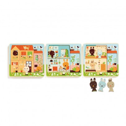 Djeco Puzzle trois niveaux - Cottage des lapins-listing