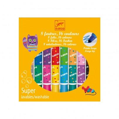 Djeco 8 pennelli doppi - 16 colori-listing