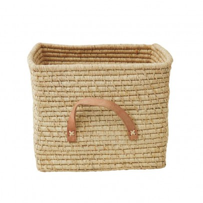 Rice Small Square basket in Raffia with Leather hands-listing