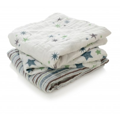 aden + anais  Swaddle - Blue Stars - Pack of 3-listing