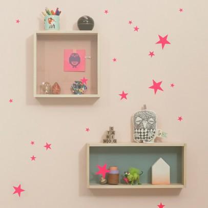 Ferm Living Pegatina plancha de estrellas - Rosa flúor-product