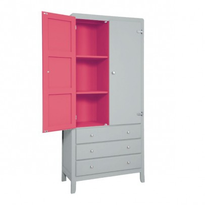 Laurette 3 Shelf Wardrobe - Light Grey/Bubblegum-listing
