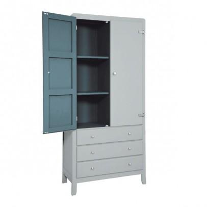 Laurette 3 Shelf Wardrobe - Light Grey/Dark Grey-listing