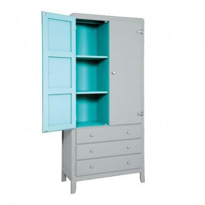 Laurette 3 Shelf Wardrobe - Light Grey/Turquoise-listing
