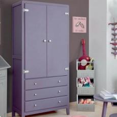 Laurette 3 Shelf Wardrobe - Dark Grey/Bubblegum-listing