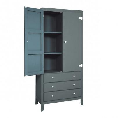 Laurette 3 Shelf Wardrobe - Dark Grey-listing