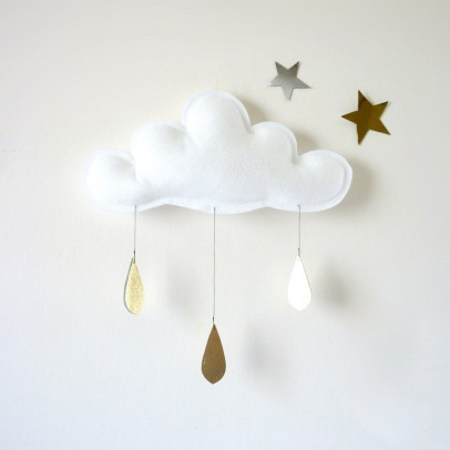 The Butter Flying White cloud with Gold Raindrops Mobile-listing