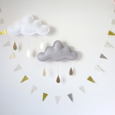 The Butter Flying Mobile Nuage aux gouttes d'or - Blanc-listing