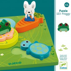 Djeco Puzzle relief 1,2,3 Froggy-listing