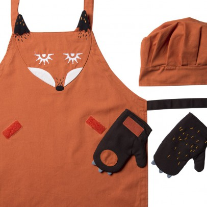 Kooroom Fox apron, chef's hat & gloves-listing