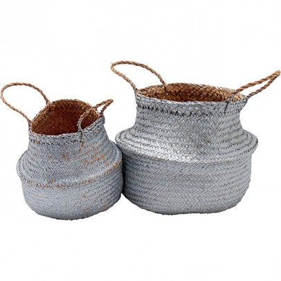 Liv Interior Wicker stacking baskets - silver-listing