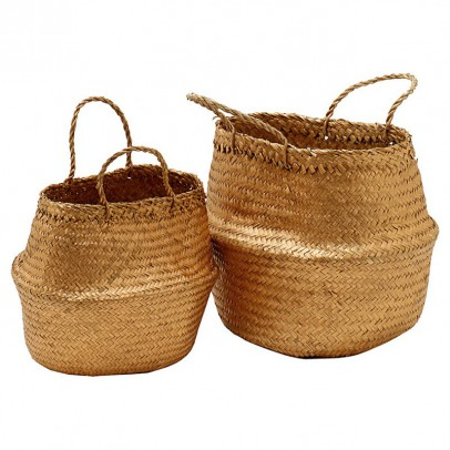 Liv Interior Wicker stacking baskets - gold-listing
