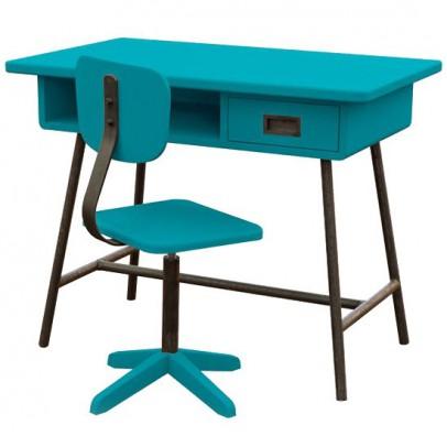 Laurette Escritorio La Clase y su silla de taller - Azul pato-listing