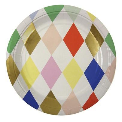 Meri Meri Platos de cartón Arlequín rombos multicolores - Lote de 8-product