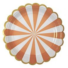 Meri Meri Platos de cartón rayas coral - Lote de 8-listing
