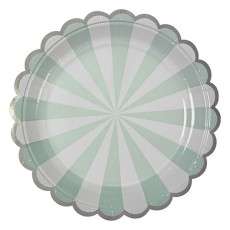 Meri Meri Green stripes paper plates - set of 8-listing