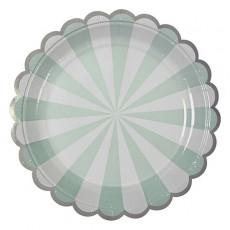 Meri Meri Platos de cartón rayas verdes - Lote de 8-listing