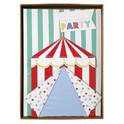 """Meri Meri Tarjetas de invitación """"Circus"""" - Lote de 8-listing"""