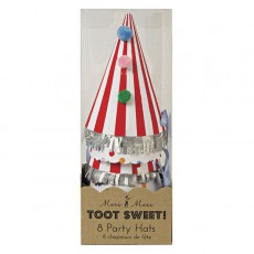 product-Meri Meri Spots and stripes Cardboard Party Hats - set of 8