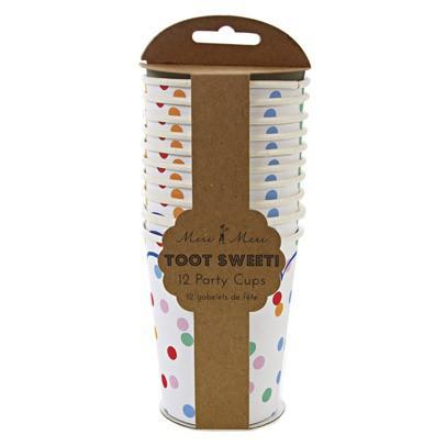 Meri Meri Vasos en cartón lunares multicolores - Lote de 12-listing