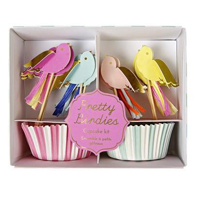 Meri Meri Moules à gâteaux et décorations Oiseaux - Lot de 24-listing