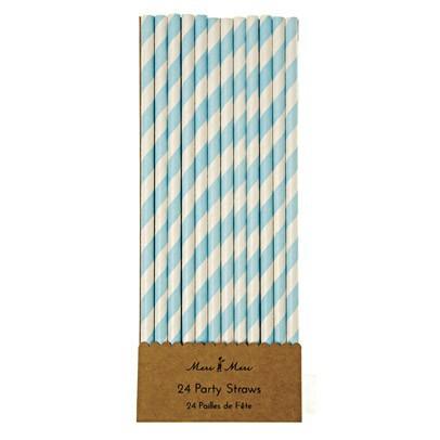 Meri Meri Pailles rayées bleues - Lot de 24-listing