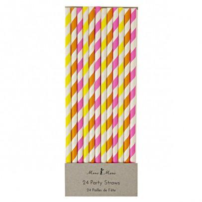 Meri Meri Neon striped straws - set of 24-listing