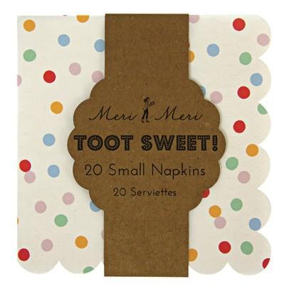 Meri Meri Toot Sweet Paper serviettes - multicoloured dots set of 20-listing