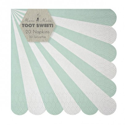 Meri Meri Toot Sweet Paper serviettes - green stripes set of 20-listing