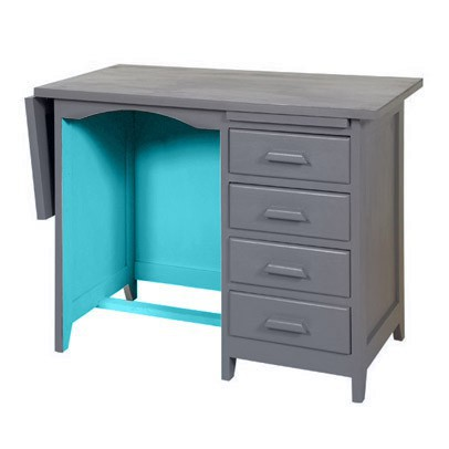 Laurette Bureau de Comptable - Gris foncé/Turquoise-listing