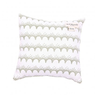April Showers Lace and clouds reversible cushion - off white and khaki-listing