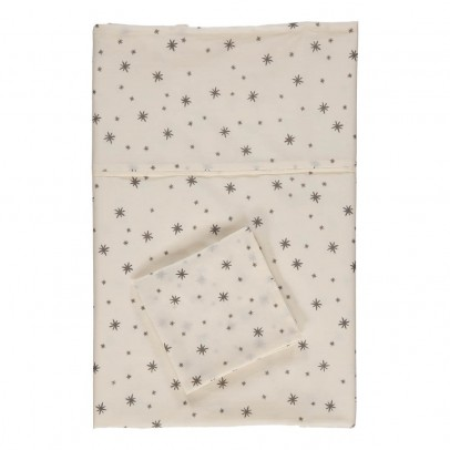 April Showers Baby bed linen set - off white, grey stars-listing