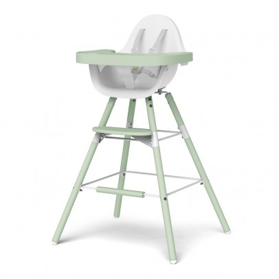 Childwood Chaise haute évolutive Evolu - Blanc/vert amande-listing