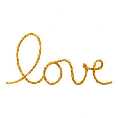 "Blossom Paris ""Love"" Wall Decoration in Woven Cotton - Mustard Yellow-product"
