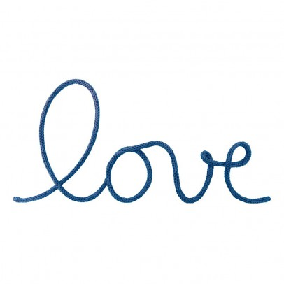 "Blossom Paris ""Love"" Wall Decoration in Woven Cotton - Petrol Blue-listing"
