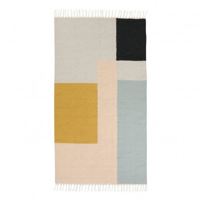 Ferm Living Alfombra Kelim - Cuadrados multicolores - 80x140 cm-product