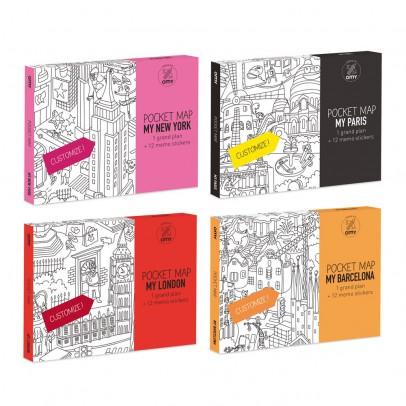 Omy Lot de 4 pocket cartes Paris, Londres, Barcelone et New-York-listing