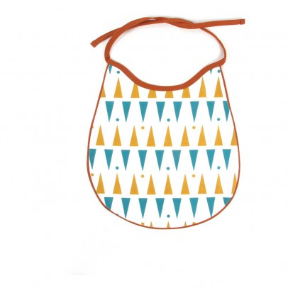 Nobodinoz Bavoir Garfield coton à triangles jaune bleu-product